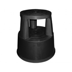 Taburete q-connect ruedas retractiles tres ruedas -dos niveles negro