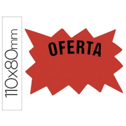 Cartel etiqueta marcaprecios cartulina rojo fluorescente bolsa de 50 etiquetas -tamaño 110x80 mm