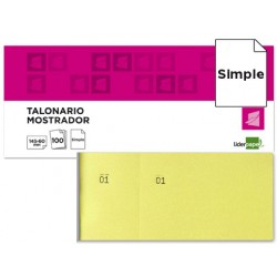 Talonario liderpapel mostrador 60x145 mm tl01 amarillo con matriz
