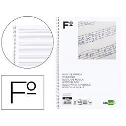 Bloc musica liderpapel pentagrama 3mm folio 20 hojas 100g/m2