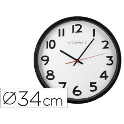 Reloj q-connect de pared plastico oficina redondo 34 cm marco negro