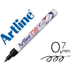Rotulador artline marcador ropa 750 negro -punta redonda 0.7 mm -ropa papel metal y cristal