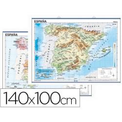 Mapa mural españa fisico/politico 140x100 cm