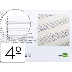 Bloc musica liderpapel para guitarra hexagrama 3 mm. cuarto 20 hojas 100g/m2